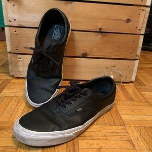 $15 ADD ON ITEM Leather Black Vans Well Used